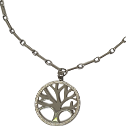 Collier pendentif arbre de vie argenté