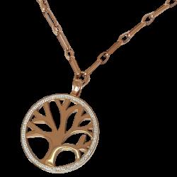 Collier or rose pendentif arbre de vie
