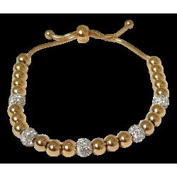 Bracelet perles or et cristaux