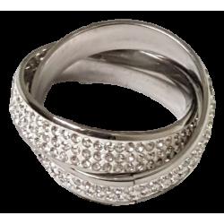 Bague argentée double anneau