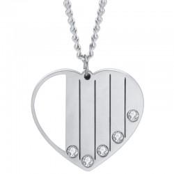 Joli pendentif cœur strass personnalisable jusqu'à 5 prénoms